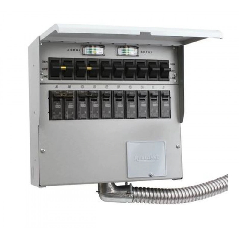 Reliance Controls Pro/Tran2 - 50-Amp (120/240V 10-Circuit) Indoor Transfer Switch w/ Wattmeters