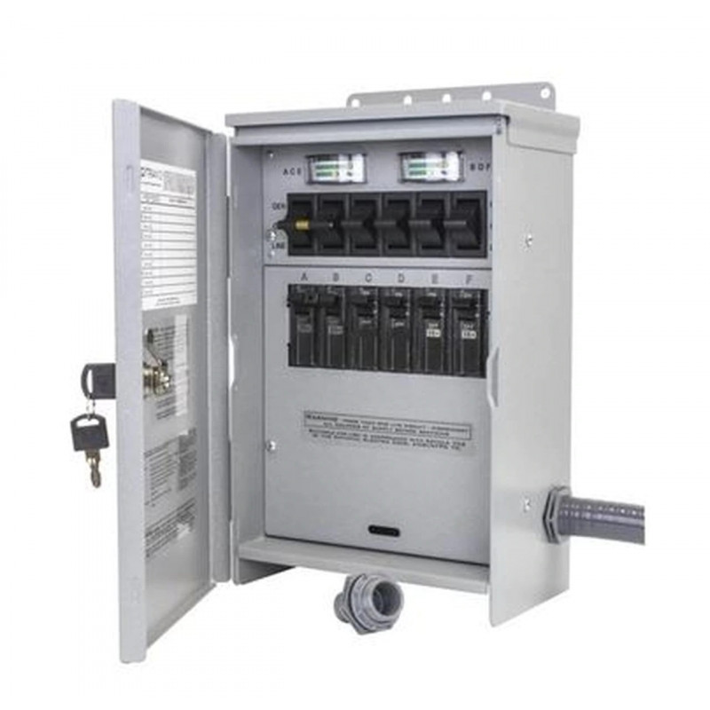 Reliance Controls Pro/Tran 2 - 30-Amp (120/240V 6-Circuit) Outdoor Transfer Switch w/ Wattmeters & Inlet